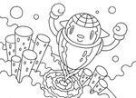 「ロボットのイラスト」 シリーズ.1 「発射!! ロケット型ロボ」