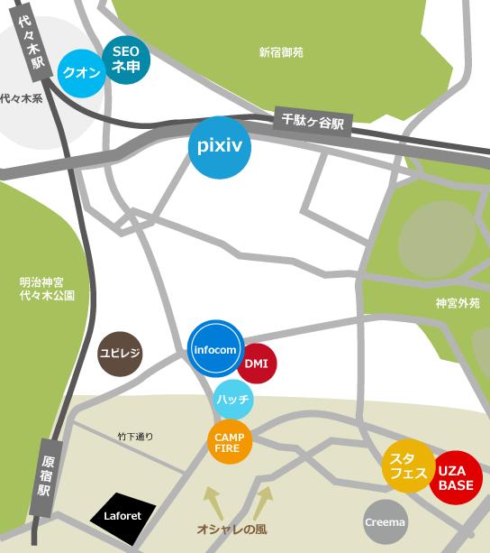 原宿、代々木界隈IT企業地図