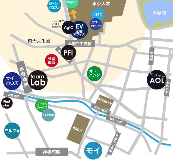 本郷、神田界隈IT企業地図