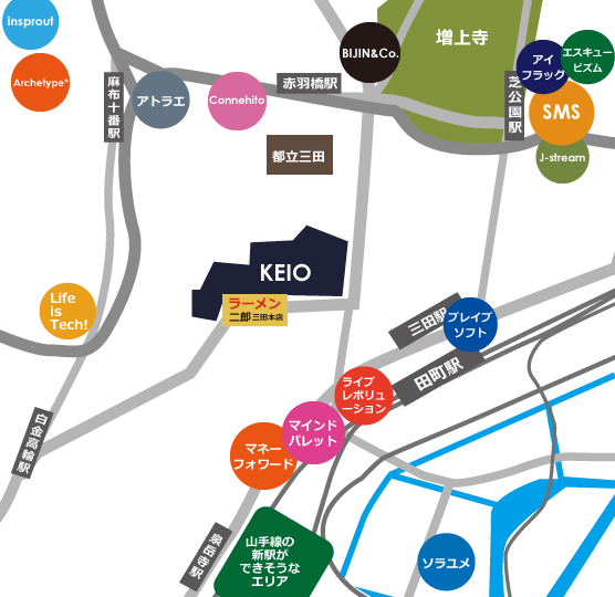 田町、三田、芝公園界隈IT企業地図