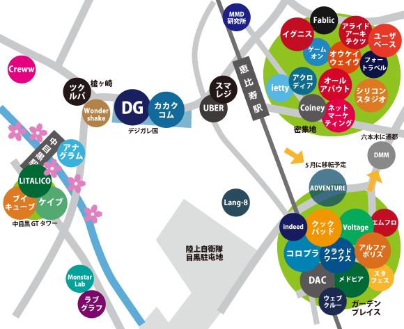 恵比寿ネット系ベンチャー地図