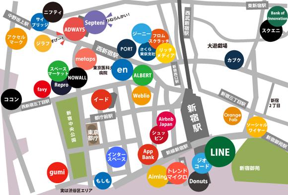 新宿ネット系ベンチャー地図2017年夏