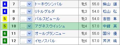 浜松ステークス5枠10番 アグネスウィッシュ
