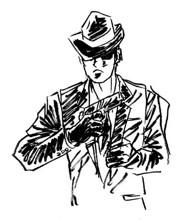 黒ずくめ、黒めがね、黒革の手袋
