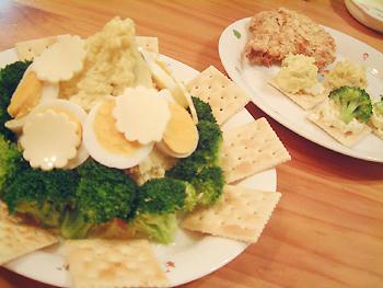イモサラダとチキンカツ