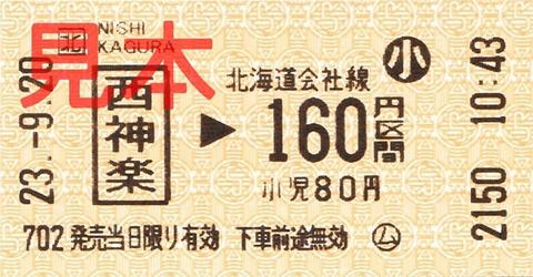 西神楽駅160円区間(小)乗車券