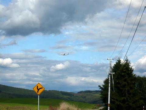 美瑛の丘から見上げるANA機