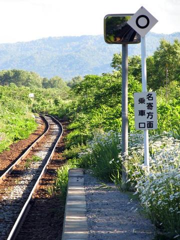 紋穂内駅から旭川方面を望む