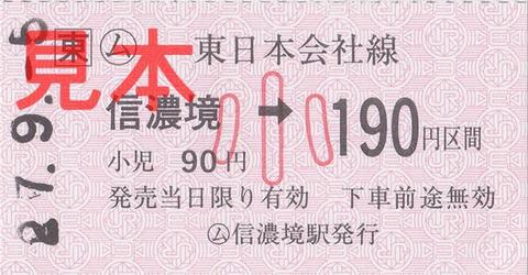 信濃境駅190円区間(常備軟券小児券)