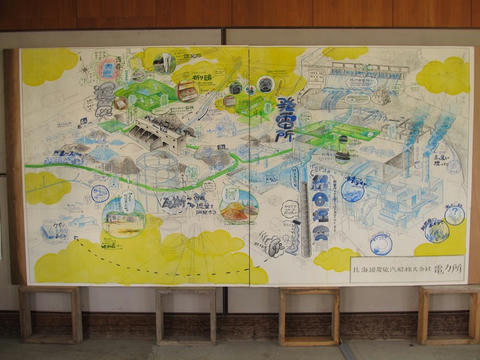 北海道炭鉱汽船電力所案内図@清水沢駅
