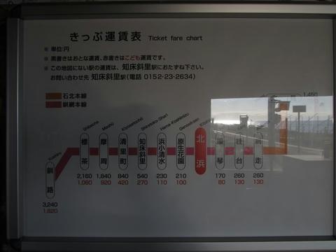 JR北浜駅運賃表