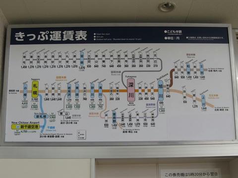 深川駅掲示運賃表