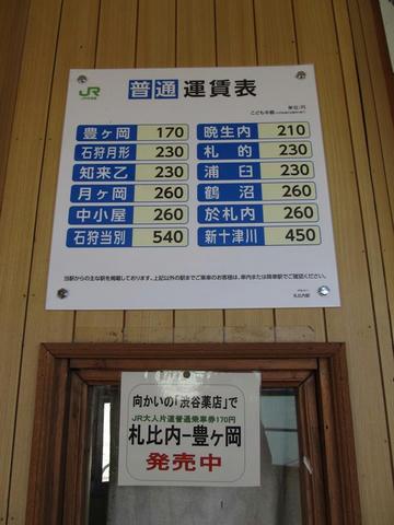 札比内駅出札窓口跡の運賃表