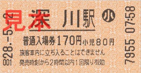深川駅入場券(券売機小児券)
