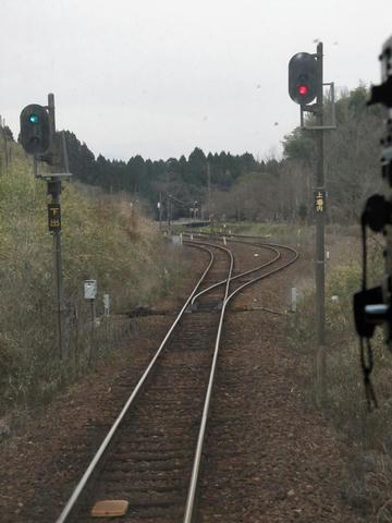 大畑駅スイッチバック引き上げ線から大畑駅を望む