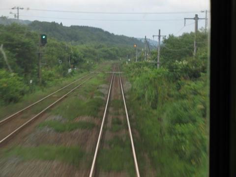 函館本線八雲付近後面展望