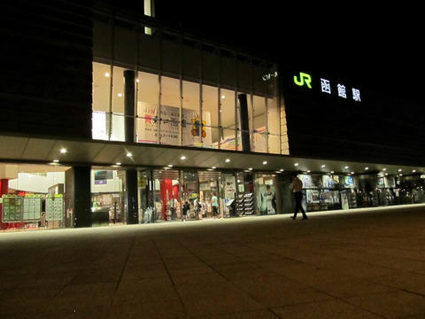 夜の函館駅駅舎