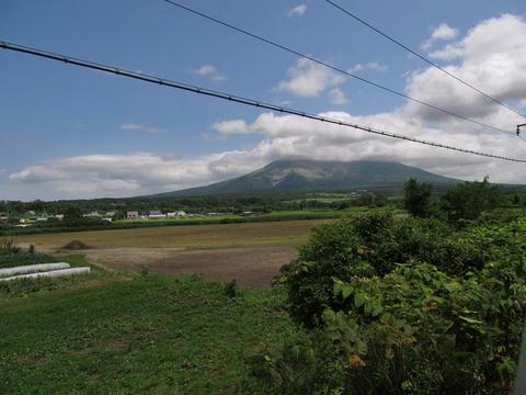 函館本線車内から見た駒ヶ岳
