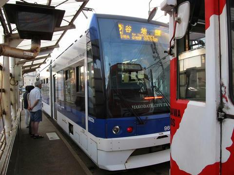 函館市電9603号車「らっくる号」@湯の川電停