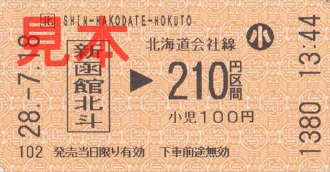 新函館北斗駅210円区間(券売機券・小児券・新在乗換券売機発売)