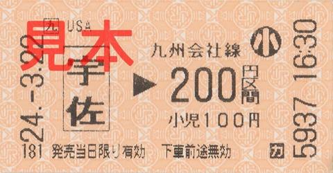 宇佐駅200円区間(券売機券・小児券)