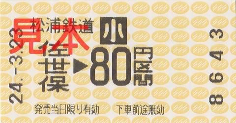 松浦鉄道佐世保駅小児80円区間(券売機券・小児券)