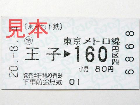 東京メトロ王子駅160円区間(券売機券)