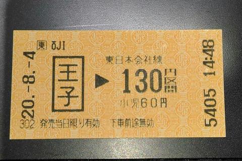 JR王子駅130円区間(券売機券)