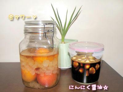 杏サワーとにんにく醤油