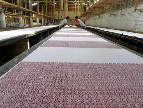 プリント生地の工場