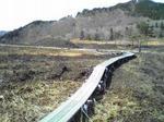 山焼き後の砥峰高原の木道