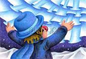 道化師・山脈・星空・オーロラ・青色