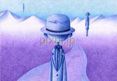 男性・紳士・山・山脈・道・浮遊・紫色・パープル
