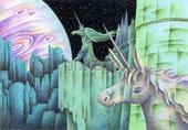 ユニコーン・一角獣・馬・惑星・宇宙・岩山・星・星空