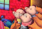 三匹の子豚・豚・馬・レンガの家・室内・動物・赤色