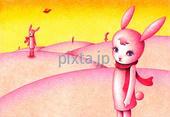 兎・うさぎ・ウサギ・丘・砂丘・惑星・ピンク色・黄色