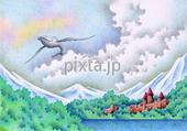 鯨・クジラ・くじら・城・古城・湖・湖畔・森・山・雲