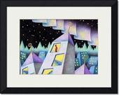 街・町・建物・家・家屋・ビルディング・オーロラ・星空・夜景