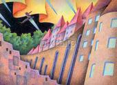 城・城壁・オーロラ・流れ星・森・夜・夜空・跳躍・ジャンプ