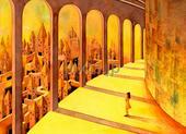回廊・都市・古代都市・街・廊下・宮殿・黄色・イエロー