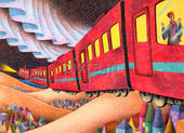 電車・列車・夜行列車・オーロラ・街・丘・星空・夜空