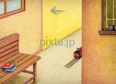 駅舎・旧駅舎・電車・待合室・レール・ベンチ・本・黒板