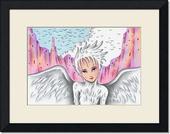 鳥・白鳥・女性・鳥人・峡谷・谷・空・雲・鳥の群れ