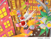 クリスマス・街灯・サンタクロース・プレゼント