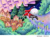 クリスマスイヴ・サンタクロース・星空・家・森