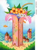 SFファンタジー - 花・タワー・塔・建物・虹