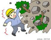 災害・事故のイラスト - 土砂災害・土石流・土砂崩れ・崩落土砂