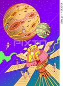 2DCG・ポップ系のイラスト - 惑星・衛星・宇宙船・探査船・調査船