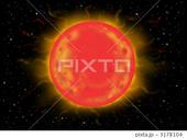 宇宙のイラスト - 太陽・プロミネンス・コロナ・紅炎