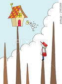 山頂・山小屋・家・小鳥・雲